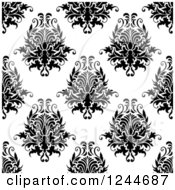 Clipart Of A Seamless Background Pattern Of Black And White Damask Floral 13 Royalty Free Vector Illustration