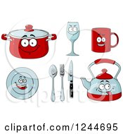 Clipart Of Happy Dish Characters Royalty Free Vector Illustration