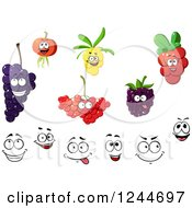 Clipart Of Happy Fruit Characters Royalty Free Vector Illustration
