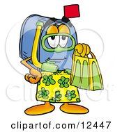 Blue Postal Mailbox Cartoon Character In Green And Yellow Snorkel Gear