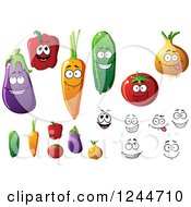 Clipart Of Happy Vegetable Characters Royalty Free Vector Illustration