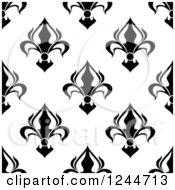 Seamless Black And White Fleur De Lis Background Pattern 10