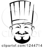 Clipart Of A Black And White Happy Asian Male Chef Royalty Free Vector Illustration