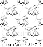 Clipart Of A Seamless Pattern Background Of Black And White Hippos Royalty Free Vector Illustration by Vector Tradition SM