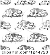 Clipart Of A Seamless Pattern Background Of Black And White Griffins Royalty Free Vector Illustration by Vector Tradition SM