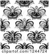 Clipart Of A Seamless Pattern Background Of Henna Lotus Flowers Royalty Free Vector Illustration