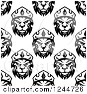 Seamless Pattern Background Of Black And White King Lions