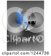 Clipart Of A Factory With Gas And Oil Text On Gray Royalty Free Vector Illustration