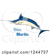 Clipart Of A Blue Marlin Fish With Text Royalty Free Vector Illustration by Vector Tradition SM