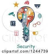 Clipart Of A Jigsaw Puzzle Key With Security Icons Royalty Free Vector Illustration