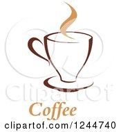 Clipart Of A Cofee Cup With Text Royalty Free Vector Illustration