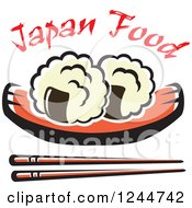 Clipart Of Chopsticks Sushi And Text Royalty Free Vector Illustration