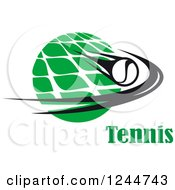 Clipart Of A Flying Tennis Ball And Net With Text Royalty Free Vector Illustration