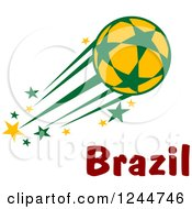 Clipart Of A Flying Soccer Ball And Brazil Text Royalty Free Vector Illustration