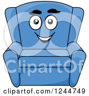 Clipart Of A Happy Blue Arm Chair Royalty Free Vector Illustration