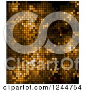 Clipart Of A Brown Pixel Background Royalty Free Vector Illustration