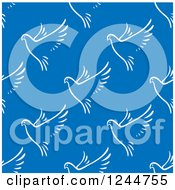 Clipart Of A Seamless Background Pattern Of White Doves On Blue Royalty Free Vector Illustration