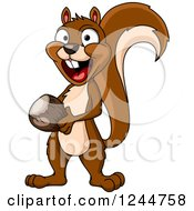 Clipart Of A Happy Squirrel With An Acorn Royalty Free Vector Illustration by Vector Tradition SM