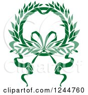 Clipart Of A Green Wreath With A Ribbon Royalty Free Vector Illustration by Vector Tradition SM