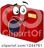 Clipart Of A Happy Red Camera Royalty Free Vector Illustration by Vector Tradition SM
