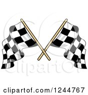 Clipart Of Crossed Checkered Racing Flags 5 Royalty Free Vector Illustration