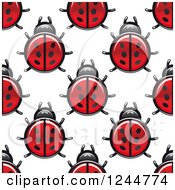 Clipart Of A Seamless Pattern Background Of Ladybugs Royalty Free Vector Illustration by Vector Tradition SM