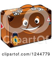 Clipart Of A Happy Suitcase Character Royalty Free Vector Illustration