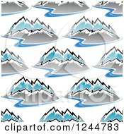 Clipart Of A Seamless Pattern Background Of Rivers And Mountains Royalty Free Vector Illustration by Seamartini Graphics