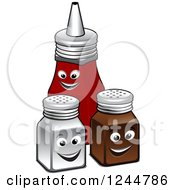 Clipart Of Salt And Pepper Shakers With Ketchup Royalty Free Vector Illustration
