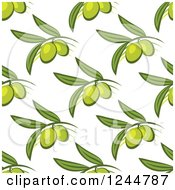 Clipart Of A Seamless Pattern Background Of Green Olives Royalty Free Vector Illustration