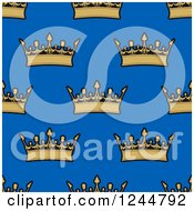 Clipart Of A Seamless Background Pattern Of Gold Crowns On Blue Royalty Free Vector Illustration