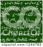 Clipart Of Seamless Math Formulas Written On A Chalkboard Royalty Free Vector Illustration