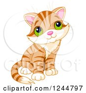 Clipart Of A Cute Ginger Tabby Cat Kitten Sitting And Looking Up Royalty Free Vector Illustration