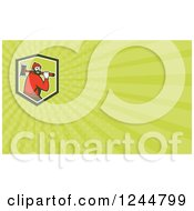 Clipart Of A Green Ray Paul Bunyan Background Or Business Card Design Royalty Free Illustration