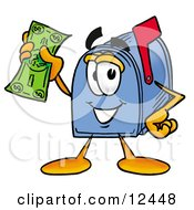 Clipart Picture Of A Blue Postal Mailbox Cartoon Character Holding A Dollar Bill