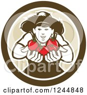 Clipart Of A Happy Tomato Farmer Holding Tomatoes In A Circle Royalty Free Vector Illustration