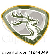 Clipart Of A Retro Woodcut Deer Jmping In A Shield Royalty Free Vector Illustration by patrimonio