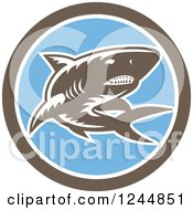 Clipart Of A Retro Woodcut Shark In A Circle Royalty Free Vector Illustration