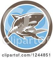 Retro Woodcut Shark In A Circle