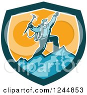 Clipart Of A Retro Male Mountain Climber Cheering On A Summit In A Shield Royalty Free Vector Illustration