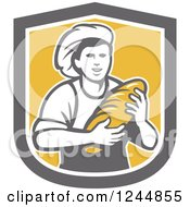 Clipart Of A Retro Female Baker Holding Bread In A Shield Royalty Free Vector Illustration by patrimonio
