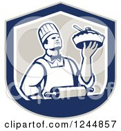 Clipart Of A Retro Chef Holding A Pie In A Shield Royalty Free Vector Illustration by patrimonio