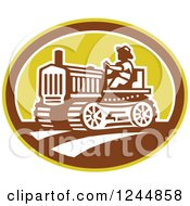 Clipart Of A Retro Farmer Driving A Tractor In An Oval Royalty Free Vector Illustration