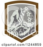 Clipart Of A Retro Farmer Harvesting In A Shield Royalty Free Vector Illustration