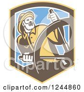 Clipart Of A Retro Captain Fisherman Steering In A Shield Royalty Free Vector Illustration