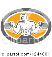 Clipart Of A Retro Male Bodybuilder Working Out With Kettlebells In An Oval Royalty Free Vector Illustration by patrimonio