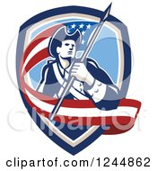 Clipart Of A Retro American Revolutionary Soldier Patriot Minuteman With A Long Flag In A Crest Royalty Free Vector Illustration