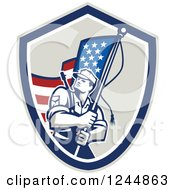 Clipart Of A Retro Male Soldier Waving An American Flag In A Shield Royalty Free Vector Illustration