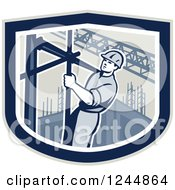 Clipart Of A Retro Male Construction Worker Climbing Scaffolding In A Shield Royalty Free Vector Illustration