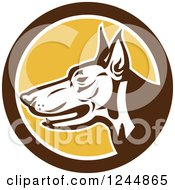 Clipart Of A Retro Doberman Dog Face In Profile In A Circle Royalty Free Vector Illustration